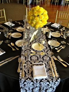 Free US Shipping Custom Made Wedding Table Linens Black and White Damask Table Runners on Etsy, $100.00