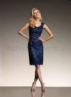 Taffeta Scoop Neckline Corset Bodice Slim knee-length Mother Bride Dress - Wedding Dresses Australia
