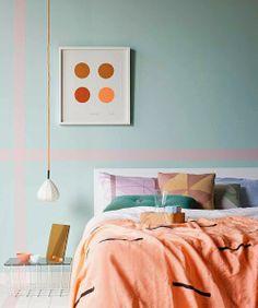 Sarah Ellison for Real Living - pastel bedroom interior Pastel Bedroom, Bedroom Orange, Blush Bedroom, Dream Bedroom, Home Bedroom, Bedroom Decor, Bedroom Ideas, Bedroom Colors, Modern Bedroom