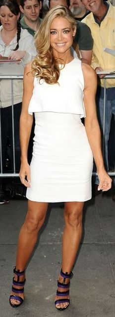 Who made Denise Richards black and purple sandals that she wore in New York?