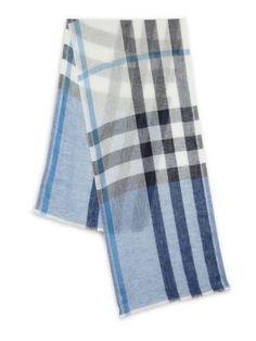 BURBERRY Plaid Linen Scarf. #burberry #scarf