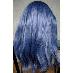 Blue wig, scene wig, cosplay wig Blue Gray Grey Long Hair Natural... ($74) ❤ liked on Polyvore featuring beauty products, haircare, hair styling tools, hair, grey hair care and gray hair care