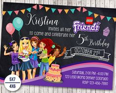 Party Friends Invitation 26 Ideas For 2019 Lego Friends Birthday, Lego Friends Party, Lego Birthday Party, Star Wars Birthday, Cake Birthday, Lego Invitations, Birthday Party Invitations, Little Man Party, Diy Birthday Decorations