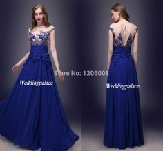 Find More Evening Dresses Information about 2015 Free Shipping In Stock US Size 2 16 Appliques Chiffon Floor Length Royal Blue Sheer Back Prom Party Evening Dresses,High Quality dresses free shipping,China shipping block Suppliers, Cheap dress wear summer wedding from OrientWedding Online Store on Aliexpress.com