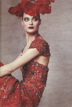 US Vogue - April 1996 - Karl Lagerfeld for Chanel - Shalom Harlow by Irving Penn - red dress