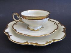 Vintage Gilded Gold Scalloped Trim Sylvia Pasco Brighton Hutschenreuther Selb Bavaria Germany LHS China 3 Pieces Teacup and Saucer
