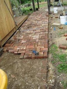 Repurposed-brick patio and walkway - Modern Brick Pathway, Brick Garden, Garden Paths, Backyard Patio, Backyard Landscaping, Landscaping Ideas, Patio Design, Garden Design, Brick Patterns Patio