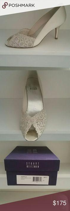 Stuart Weitzman ivory lace peep toe pumps. Size 8. Stuart Weitzman Chantelle ivory lace peep toe pumps with box. Worn once at my wedding. Beautiful shoes! Stuart Weitzman Shoes Heels