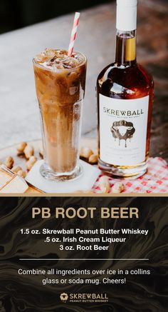 Our twist on an American classic! Featuring Skrewball Whiskey, Irish Cream, and Root Beer, our PB Root Beer is an adult-take on a childhood favorite! And, it's easy-to-make right at home! Whiskey Cocktails, Cocktail Drinks, Cocktail Recipes, Bourbon Drinks, Whiskey Recipes, Alcohol Drink Recipes, Fireball Recipes, Coffee Recipes, Refreshing Drinks