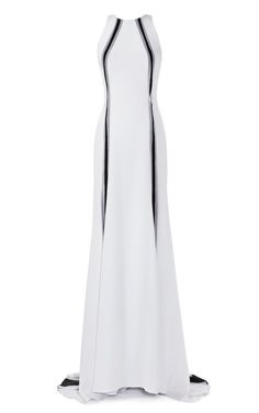 Four Ply Crepe A-Line Gown With Vertical Contrast Inserts by Prabal Gurung for Preorder on Moda Operandi US 4