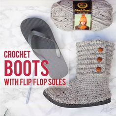 # Häkeln Sie Hausschuhe Flip Flop How to crochet boots with in . # Häkeln Sie Hausschuhe Flip Flop How to crochet boots with flip flops – Free pattern + video tu Crochet Diy, Quick Crochet, Crochet Crafts, Crochet Projects, Tutorial Crochet, Sewing Projects, Diy Projects, Crochet Sole, Doilies Crochet