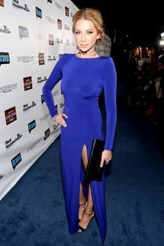 We think Stassi was born to wear this effortless blue number. And that Angelina slit? We die.