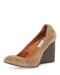 Velvet Suede Ballerina Wedge Pump, Camel, Size: 35.5B/5.5B - Lanvin