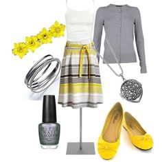 """Grey and Yellow Cuteness"" by tajarl on Polyvore"