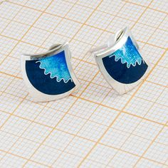 Rhomboid blue earrings Abyss with cloisonné enamel from Sterling Silver