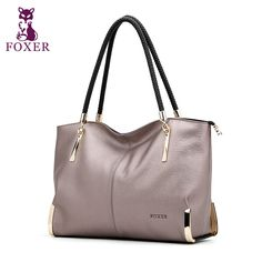 Foxer 브랜드 럭셔리 여성의 가죽 어깨 가방 대용량 지퍼 핸드백 여성 가방 레이디 토트