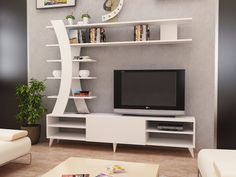 Renwick Entertainment Center for TVs up to 50 inches – Tv unit decor – Welcome The Tv Units Modern Tv Unit Designs, Wall Unit Designs, Modern Tv Wall Units, Living Room Tv Unit Designs, Modern Tv Cabinet, Tv Unit Decor, Tv Wall Decor, Wall Tv, Tv Cabinet Design