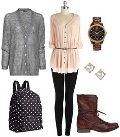 Figure-flattering outfit for school days