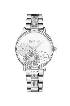 SO&CO New York, Ceas decorat cu cristale Madison, Argintiu - eMAG. Yorkie, Michael Kors Watch, New York, Watches, Accessories, Bracelet Watch, Steel, Silver, Schmuck