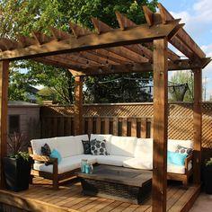 Backyard Seating, Backyard Patio Designs, Garden Seating, Pergola Designs, Patio Ideas, Pergola Ideas, Deck With Pergola, Outdoor Pergola, Backyard Pergola