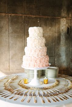 Ombre blush pink rosettes buttercream wedding cake NashvilleSweets.com