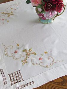 Superb-ANTIQUE-Victorian-Society-Silk-Embroidered-Lace-Linen-Tablecloth-36x34  Vintageblessings