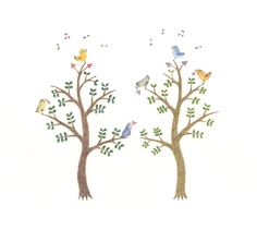 """Little Birds and Two Trees"" −RiLi, picture book, illustration, design ___ ""小鳥たちと二本の木"" −リリ, 絵本, イラスト, デザイン ...... #illustration #bird #tree #colorful #イラスト #鳥 #木 #色"