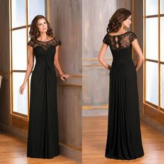 2015 Black Long Cap Sleeves Mother of the Bride Dresses Sheer Lace Backless Chiffon Fashion Prom Dress Formal Plus Size Evening Gowns, $93.49 | DHgate.com