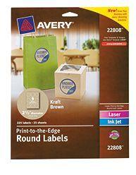 "Avery® Easy Peel® Print-to-the-Edge Kraft Brown Round Labels 22808, 2-1/2"" Diameter, Pack of 225"