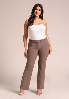 Plus Size Clothing | Plus Size High Rise Dress Pants | Debshops
