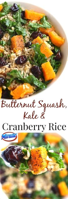 Butternut Squash, Kale and Cranberry Rice is simple to make, nutritious and tasty with a homemade apple cider vinaigrette! This is a spon. Rice Salad Recipes, Easy Rice Recipes, Healthy Living Recipes, Easy Appetizer Recipes, Healthy Dishes, Healthy Cooking, Whole Food Recipes, Vegetarian Recipes, Dinner Recipes