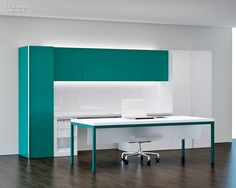 Back Painted Glass under cabs- use as whiteboard.   Glow Lighting.  Modesty Panel- frosted panel under desktop.  Bold color without overwhelming = balanced by white & uncluttered space.