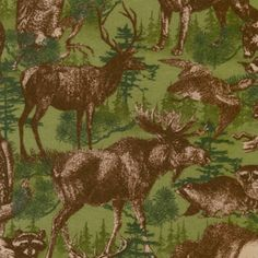 Brown Wildlife Animals on Green Flannel Fabric by the Yard from the Timber Lodge Collection by Robert Kaufman - 100% Cotton Flannel