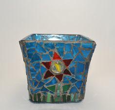 Flower design mosaic candle holder. via Etsy