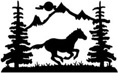 Mountain Silhouette Wall Art | Running Horse wall art (Powered by CubeCart)