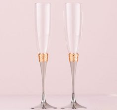 Hammered Gold & Polished Silver Toasting Flutes | Wedding Toasting Glasses