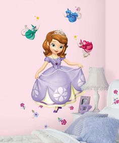 Adorable darlings can decorate their room with this giant Sofia wall decal. It's completely removable and reusable, so it can be repositioned in any Disney-theme room again and again without damaging the walls.28'' W x 42'' HVinylMade in the USA