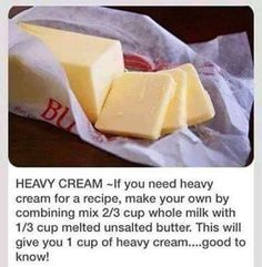 If you've forgotten heavy whipping cream, here's how to make it yourself!
