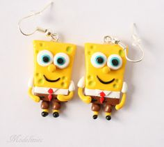 Kolczyki SpongeBob Kanciastoporty/ Polymer clay SpongeBob Squarepants earrings  #polymerclay #SpongeBob #earrings