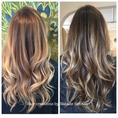 My work from a year ago on the left and today on the right. Before and after color Magic ecaille balayage lived in haircolor soft seamless movement Expanda dust unite haircare Texturiza spray dry texture long layers bronde dark blonde sombre blonde dimension ombre colormelt hairmelt color melt