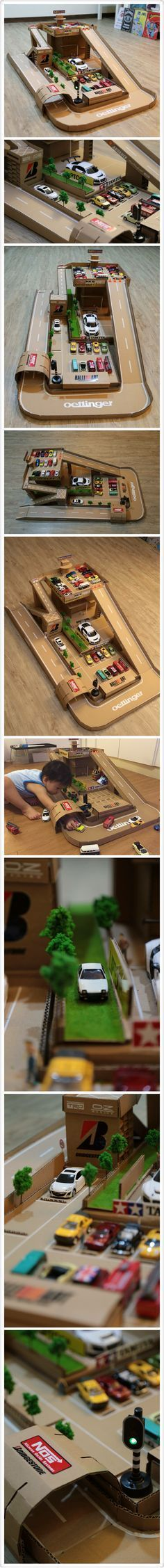 DIY toy car garage/car station/parking lots for my 2yrs son.Hope he won\'t destroy it too soon...