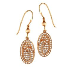 Dizeo 18K Rose Gold over Sterling Silver with Simulated White Diamond Oval with Swirl Earrings #rosegold #earrings #jewelry