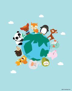 Cute Baby Animals On A Planet Poster : Modern Animal Illustration Nursery Art Wall Decor Print 8 x 10 | INSTANT Digital Download Printable