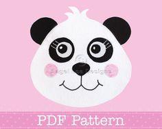 Panda Bear Applique Template PDF Pattern Animal Applique Designs | AngelLeaDesigns - Craft Supplies on ArtFire