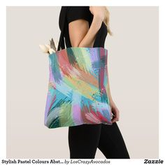 Stylish Pastel Colours Abstract Art Tote Bag Pastel Colours, Edge Design, Holiday Cards, Abstract Art, Tote Bag, Sewing, Stylish, Prints, How To Make