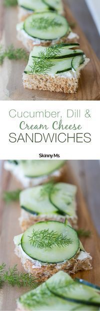 going ultra-lightweight and super refreshing with our Cucumber, Dill and Cream Cheese Sandwiches on Whole Wheat Toast.We're going ultra-lightweight and super refreshing with our Cucumber, Dill and Cream Cheese Sandwiches on Whole Wheat Toast. Healthy Sandwich Recipes, Appetizer Recipes, Cucumber Appetizers, Tea Recipes, Cooking Recipes, Tea Party Sandwiches, Finger Sandwiches, Cucumber Dill Sandwiches, Brunch