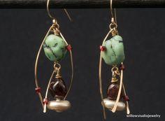 Swirling earrings - green red white - 14K GF swirls - garnets and variscite - artisan metalwork - swirl twirl - assemblage jewelry