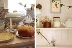 Un espacio decorado con objetos de segunda mano  La naturaleza es siempre bien recibida. En la cocina, de tono marfil y con piso de pino tea original, la enredadera subió por el caño de la pileta y creció hasta llegar al cielo raso.