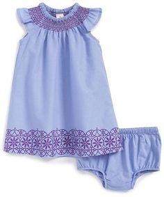 Tucker + Tate Flutter Sleeve Woven Dress & Bloomers (Baby Girls)