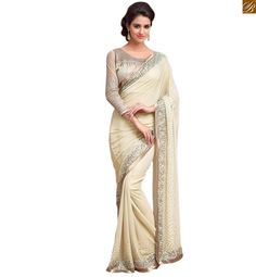 Cream georgette heavy sequence worked designer saree with lace border and embroidered designer blouse.